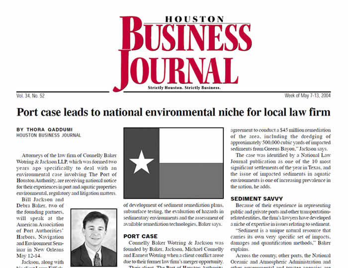 Baker · Wotring LLP | Port Case Leads to National Environmental Niche For Local Law Firm