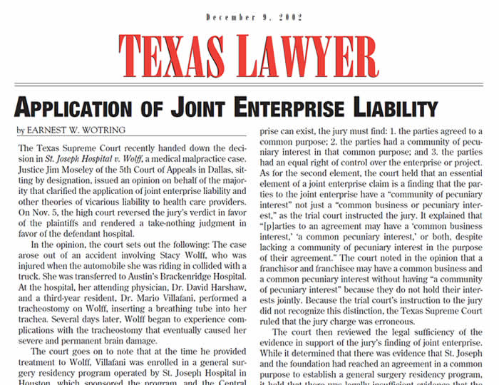Baker · Wotring LLP | Application of Joint Enterprise Liability